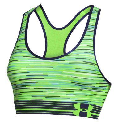 Sportovní podprsenka Under Armour HeatGear Alpha Printed Signální zelená XS