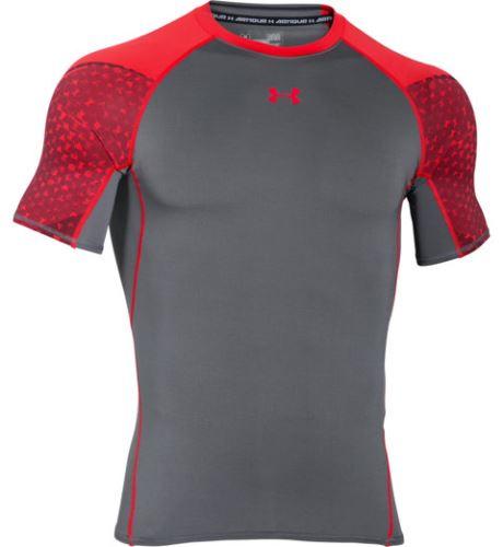 Pánske kompresné tričko Under Armour HeatGear ARMOUR SCOPE Šedo / oranžové XS