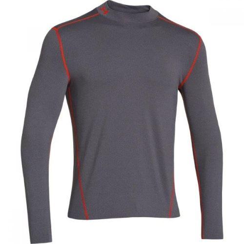 Pánske tričko Under Armour EVO ColdGear Fitted Mock dlhý rukáv Šedé S